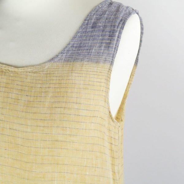 detail handmade linen summer sleeveless long dress with stripes for woman