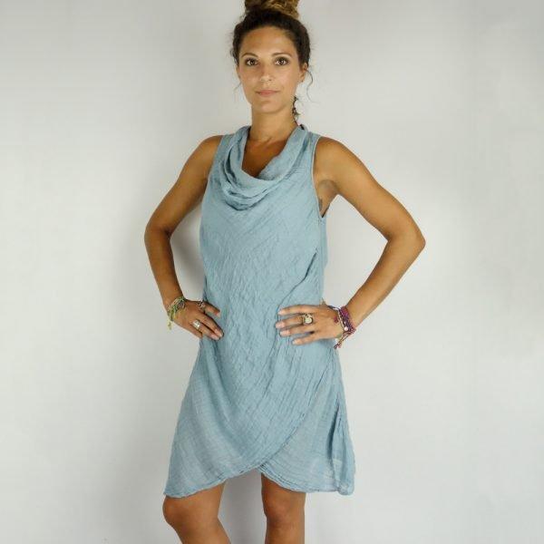 model with Handmade linen summer sleeveless short blue dress for woman
