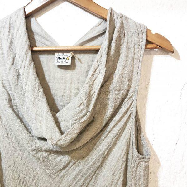 Handmade linen summer sleeveless beige top for woman