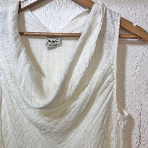 Handmade linen summer sleeveless cream top for woman