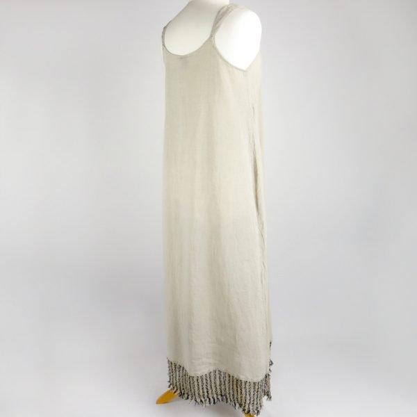 back handmade linen summer sleeveless long dress for woman