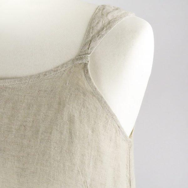 detail handmade linen summer sleeveless dress for woman