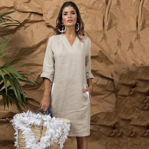 model with handmade linen summer sleeveless short dress for woman