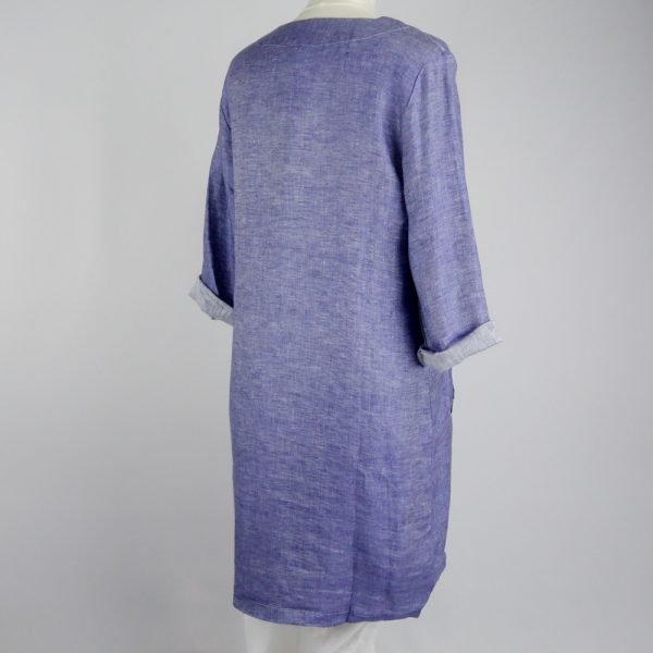 back of handmade short dress with pockets and sleeves for woman made with natural fabric