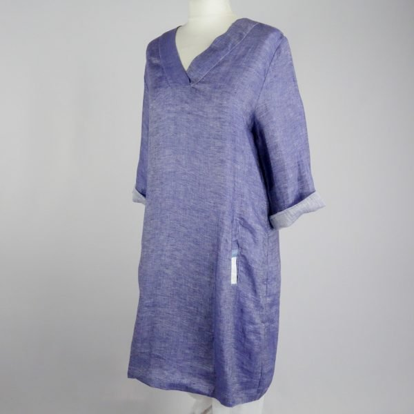 handmade short dress with pockets and sleeves for woman made with natural fabric