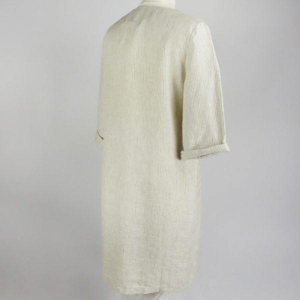 back of handmade linen summer sleeves short dress with beige stripes for woman
