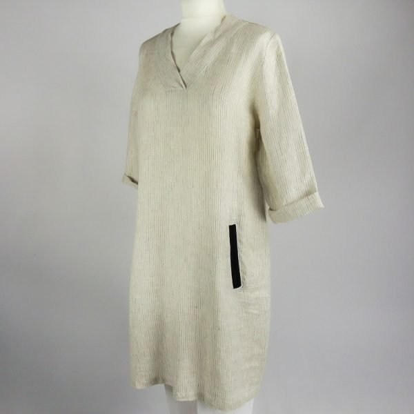 handmade linen summer sleeves short dress with beige stripes for woman