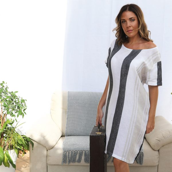 model with handmade linen summer sleeves dress with stripes for woman