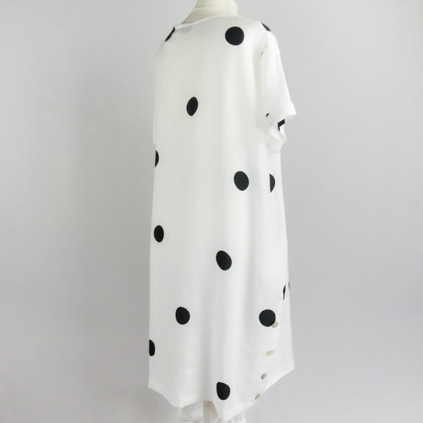back of handmade linen summer sleeves dress with dots for woman