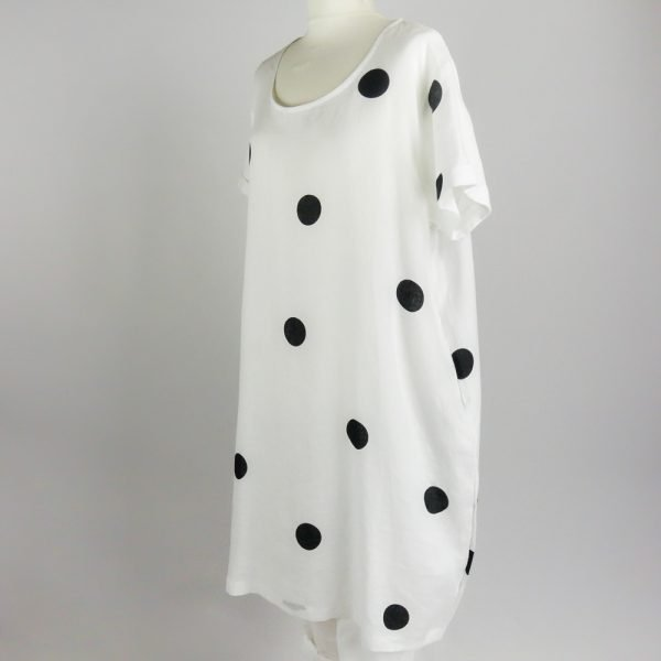 handmade linen summer sleeves dress with dots for woman