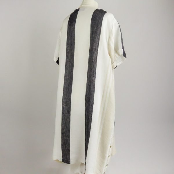 back of handmade linen summer sleeves dress with stripes for woman