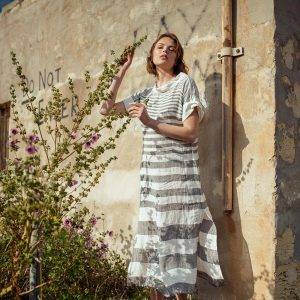 model with Handmade linen summer sleeves long dress with grey stripes for woman