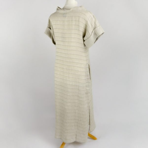 back handmade linen summer sleeves long dress with beige stripes for woman