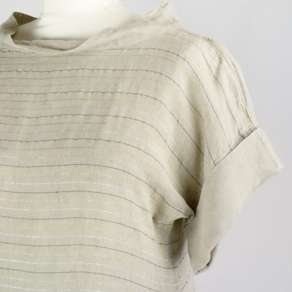 detail handmade linen summer sleeves long dress with beige stripes for woman
