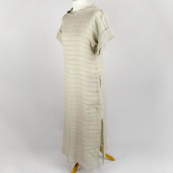 handmade linen summer sleeves long dress with beige stripes for woman