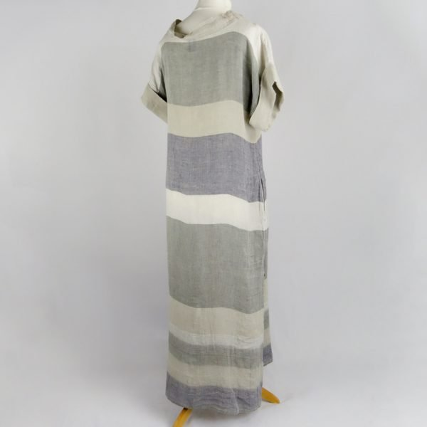 back handmade linen summer sleeves long dress with stripes for woman