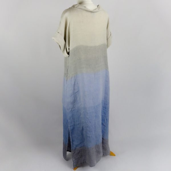 back handmade sleeves long dress with blue stripes for woman made with natural fabric