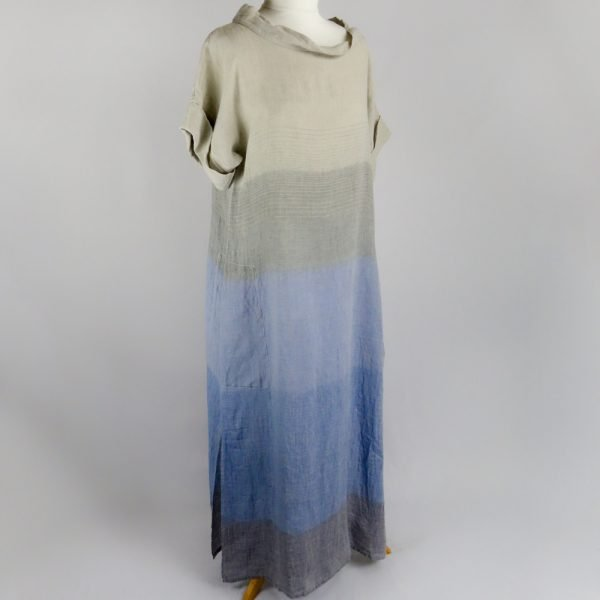 handmade sleeves long dress with blue stripes for woman made with natural fabric