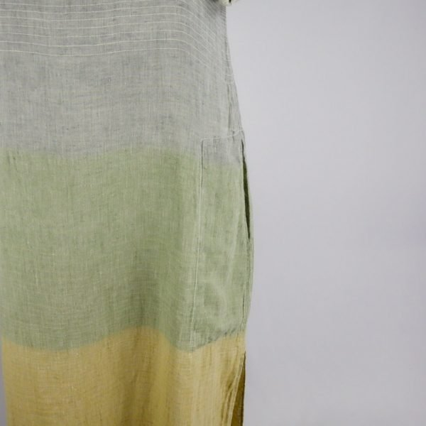 detail pocket handmade linen long dress with stripes for woman