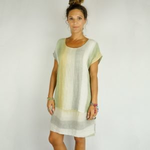 model with Handmade linen summer sleeves short dress with stripes for woman