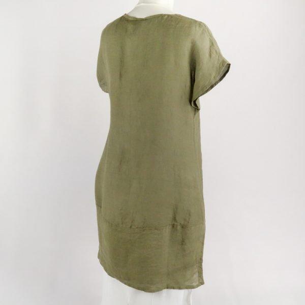 back handmade linen summer short green dress with sleeves for woman