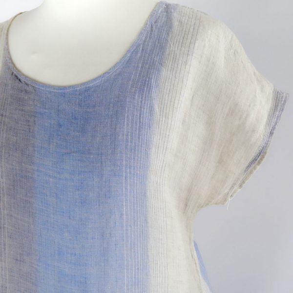 detail handmade sleeves short dress with blue stripes for woman made with natural fabric