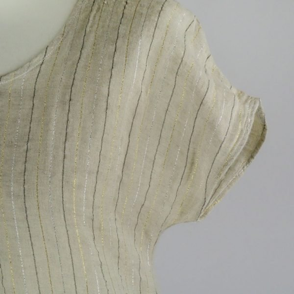 detail handmade linen summer sleeves dress with stripes for woman