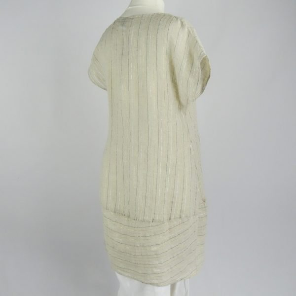back handmade linen summer sleeves short dress with stripes for woman
