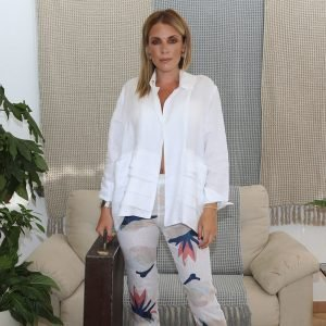 model with handmade linen white jacket for woman