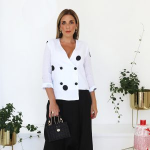 model with handmade linen jacket with dots for woman