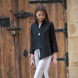 model with handmade linen black jacket for woman