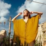 model with Handmade linen summer mustard shirt with sleeves for woman
