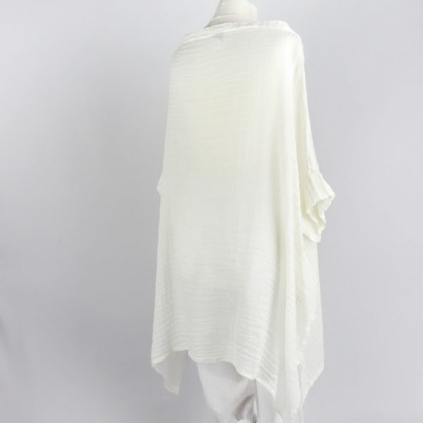 back handmade linen white shirt with sleeves for woman