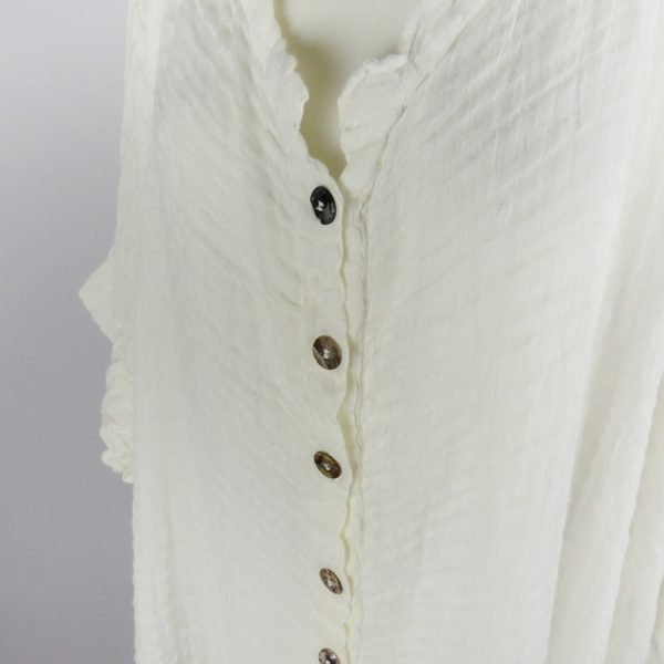 detail buttons handmade linen white shirt with sleeves for woman