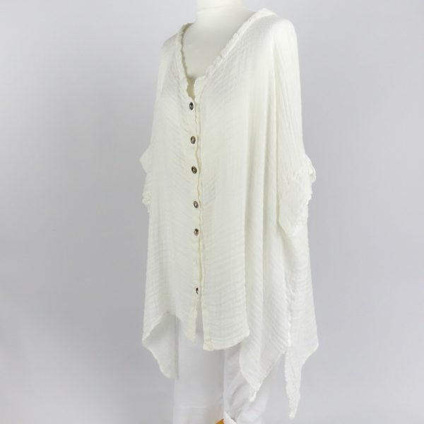 handmade linen white shirt with sleeves for woman