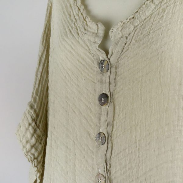 detail buttons handmade linen shirt with sleeves for woman