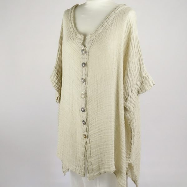 handmade linen shirt with sleeves for woman