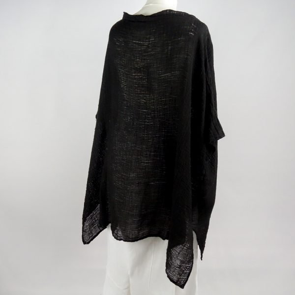 back handmade linen black shirt with sleeves for woman