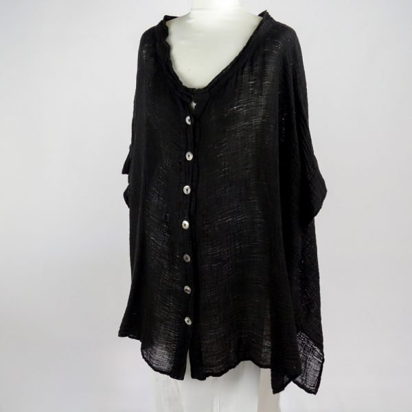 handmade linen black shirt with sleeves for woman