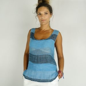 model with Handmade summer sleeveless top with stripes for woman made with natural fabric
