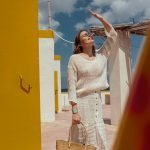 model with Handmade linen summer white top with sleeves for woman