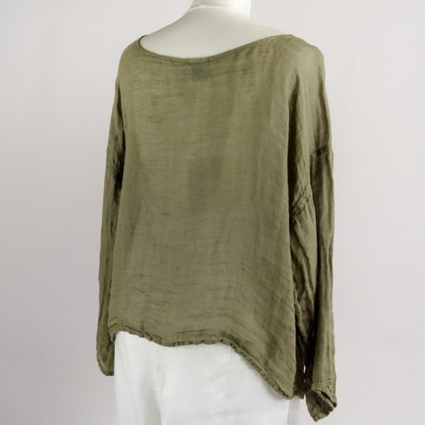back handmade summer top with sleeves for woman made with natural fabric
