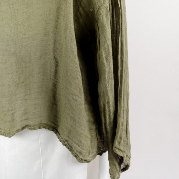 detail handmade summer top with sleeves for woman made with natural fabric