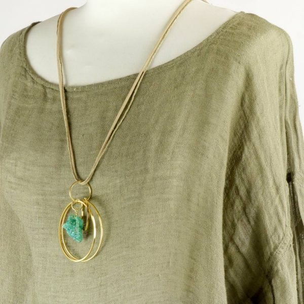 detail necklace handmade summer top with sleeves for woman made with natural fabric