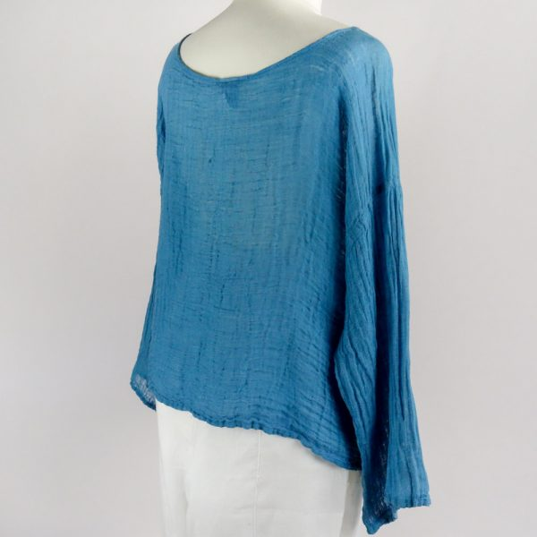 back handmade linen top with sleeves for woman