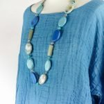detail necklace handmade linen blue top with sleeves for woman