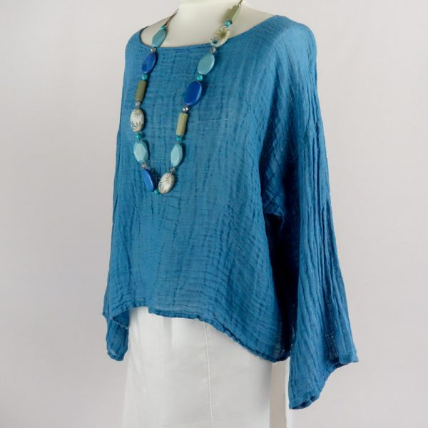 necklace handmade linen blue top with sleeves for woman