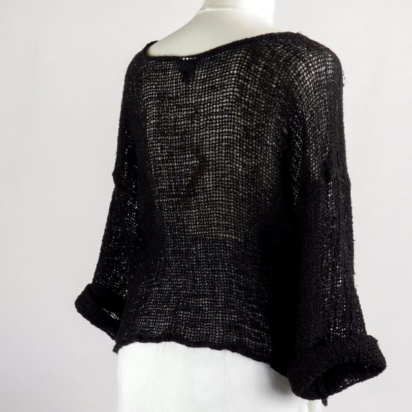 back handmade linen black top with sleeves for woman