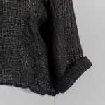 detail handmade linen black top with sleeves for woman