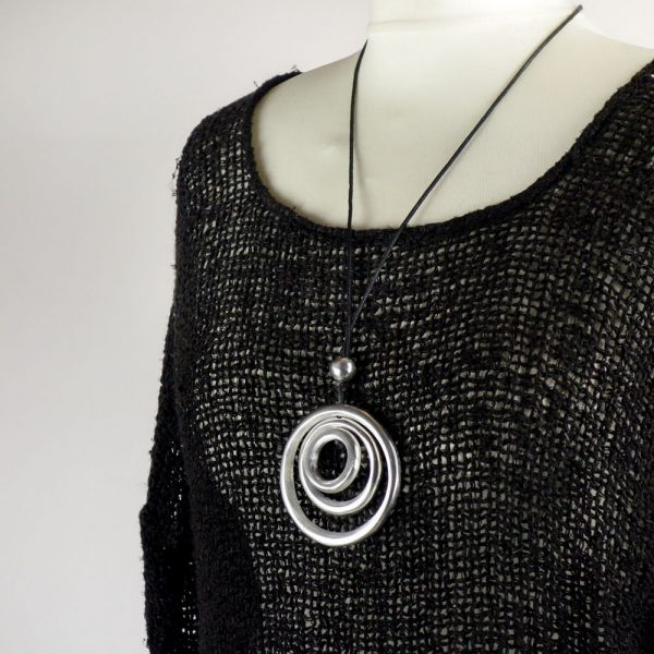 detail necklace handmade linen black top with sleeves for woman